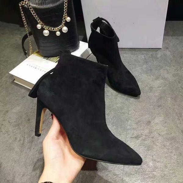 Punta estrecha zapatos mujer tobillo botas romanas cuero genuino resbalón en los recortes pajarita arriba superior zapatos casuales tacones altos zapatos de vestir negros