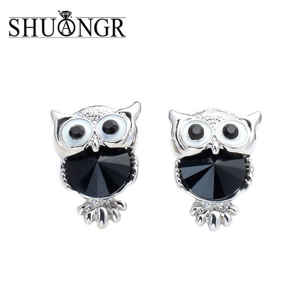 Brand Jewelry Crystal Owl Stud Earrings For Women Vintage Gold-Color Animal Statement Earrings Brincos Free Shipping
