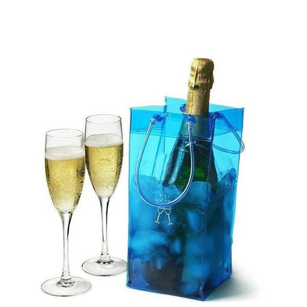 Portable Ice Bag Wine Beer Rapid Cooler Bag Durable Transparent Clear PVC Champagne Ice Bags Pouch with Handle Outdoor Chiller Cooling Bag