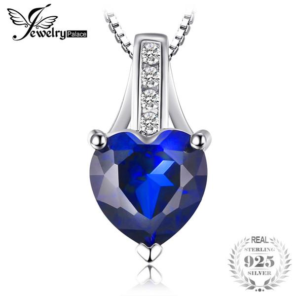 JewelryPalace Fashion 1,73 ct Creato ciondolo a cuore con zaffiro blu Gioielli in argento sterling 925 per donna non include una catena