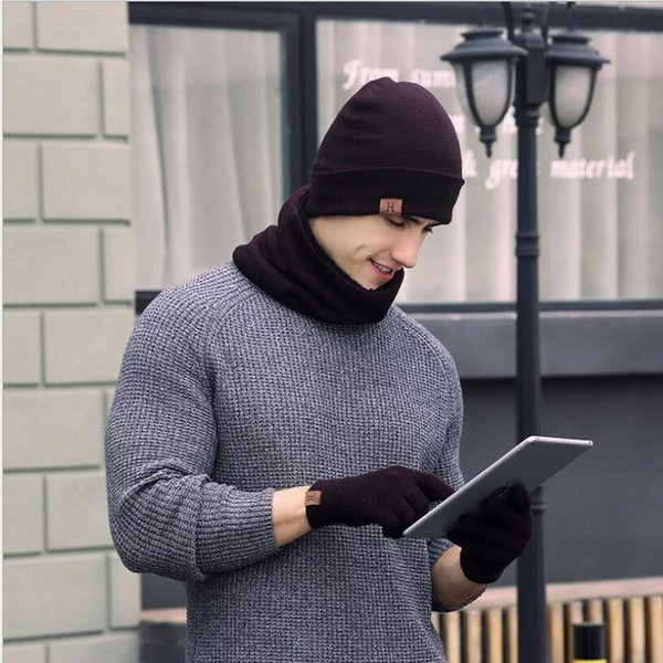 Winter Men Beanie Hat + Scarf + Touch Screen Gloves 3 Pieces Winter Warm Clothing Set for Men