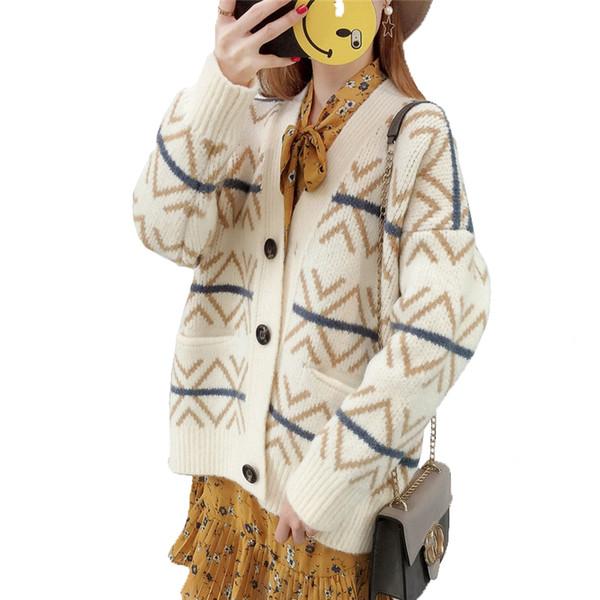 Autumn winter Loose Long Women's Cardigan Sweater 2018 Korea New Warm Long-sleeved Knit Jacket Personality Fashion Female W38