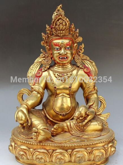 "12""Nepal Tibetan Purple Bronze 24K Gold Yellow Jambhala Wealth God Buddha Statue"