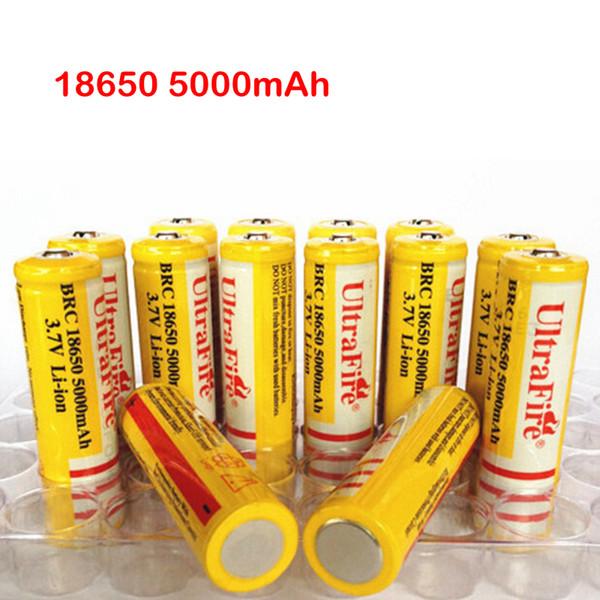 Ultra Yangın 18650 3.7V 5000mAh Lityum Şarj Edilebilir Pil Sarı, UltraFire BRC 18650 Li-İyon pil ile şarj cihazı