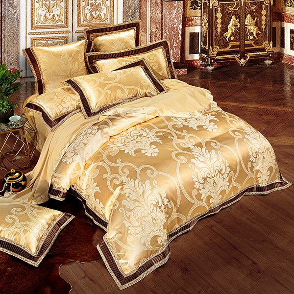 Pink Green Purple Silver Beige White Gold Luxury Satin Jacquard Bedding Set Queen King Size Duvet Cover Bed Sheet Pillowcase