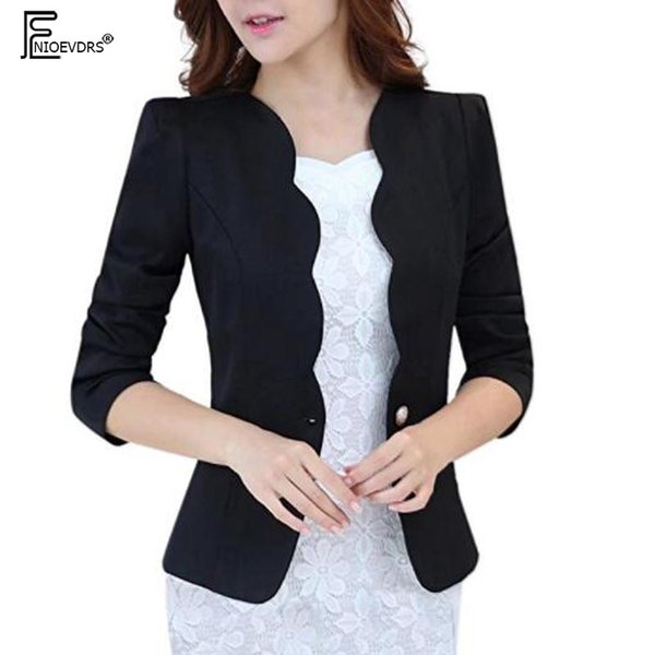 7897a69aee6 Short Blazer Outerwear 2018 Design Slim Fitted Office Lady Work Blue Black  Red White Women s One Button Curved Blazer Jacket