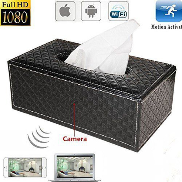 1080P Wireless WIFI Tissue Box Pinhole Camera HD Tissue Box P2P IP Cam Home Security voice vedio Recorder Remote Monitor Camcorder PQ536