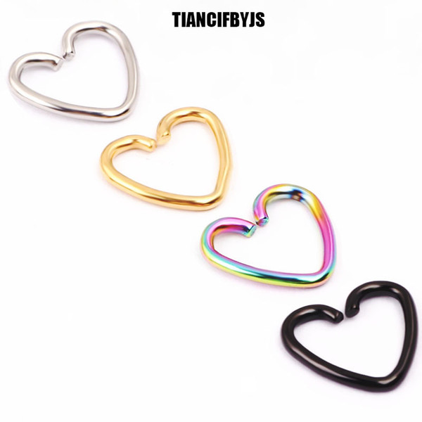 TIANCIFBYJS 40pcs/lot Mixed 4 Colors Ear Cartilage Earrings Piercing Heart Labret Rings Lip Hoop Nose Rings Body Jewelry
