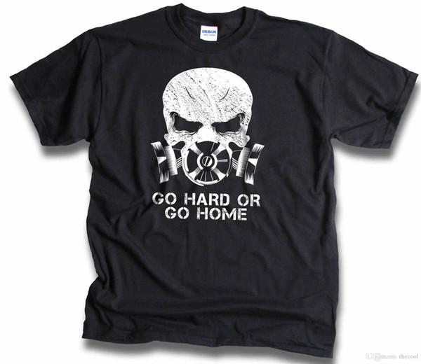 Schädel Distressed Gasmaske Bio Hazard Gehen Sie hart oder gehen Sie nach Hause Mens T -Shirt Sm 3XL