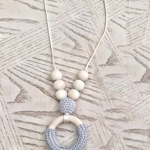 Let's Make Wood Crochet Beads Grey Teething Necklace Breastfeeding mom necklace Original Wood And Gift - Toy - Baby Shower