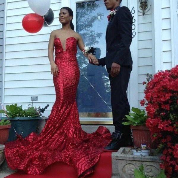 Elegant 2018 Designer Shiny Long Mermaid Red Prom Dresses For Black Girl Strapless Backless Sweep Train Evening Party Dresses