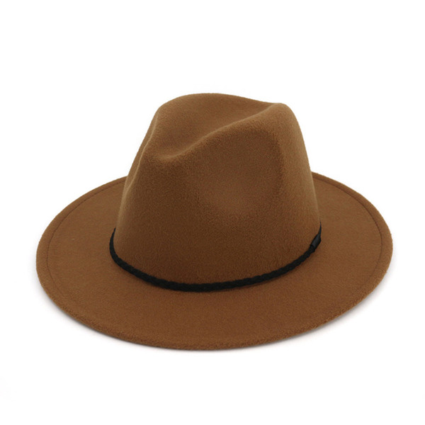 Moda Vintage Ladies Felt in lana Mens Fedora Trilby Hat Simply Braided Rope Decorato Panama Flat Brim Jazz Formal Hats