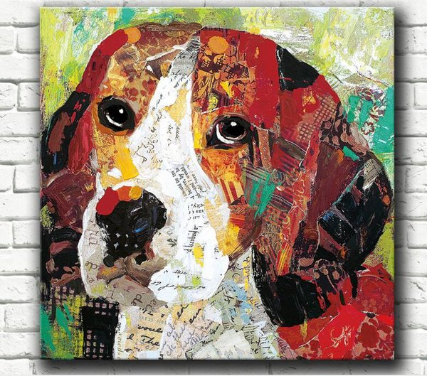 Wholesale freeshiping Spraying Oil Painting Printing Abstract cute colourful dog Unframed semi-manufacture Fiber cloth Painting home decor