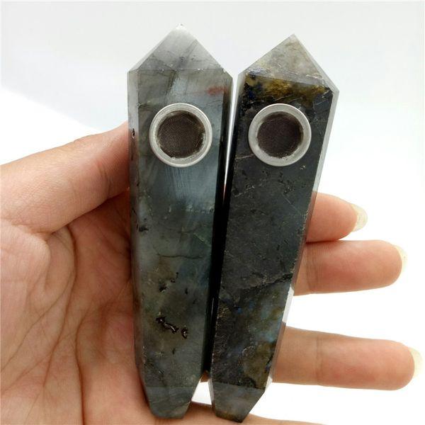 2 piece beautiful natual crystal quartz stones handmade flash labradorite healing smoking pipe metal filter screen for birthday gift