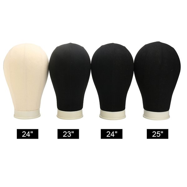 """Canvas Block Head Cork Wig Display Stand Fabric Covered Training Mannequin Head Making Cap Hair Extensions Style Model 23/24/25"""" free shippi"""