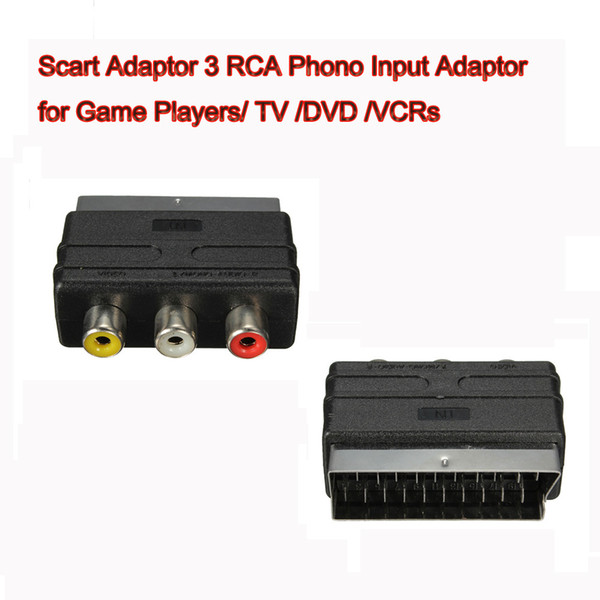 best selling 20 Pins SCART Male Plug To 3 RCA Female AV TV Audio Video Adaptor Converter IN for Game Players TV DVD VCRs High Quality FAST SHIP