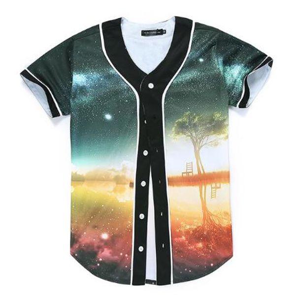 Newest Men Baseball Jersey Galaxy Sunset Tree Print Men V-neck Harajuku Slim Fit T-Shirts Jacket T Shirt Tops Camisas