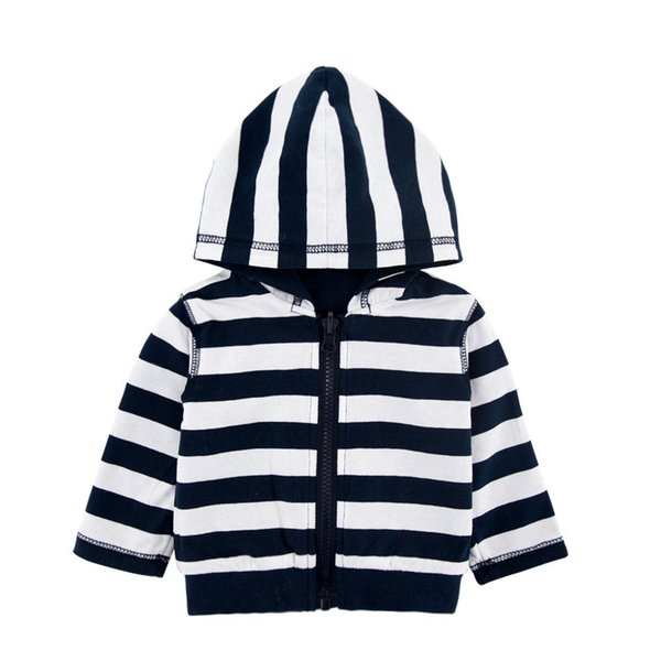 kids hoodies 2018 INS new arrival baby kids long sleeve autumn striped coat high quality cotton can be worn on both sides kids clothing