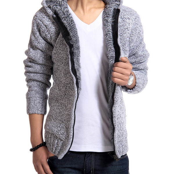 Fur Inside Thick Autumn Winter Warm Chaquetas Hoodies Hodded Hombres Casual Thick Hot Sale Sudadera 179