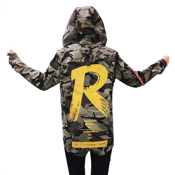 Mens Camouflage Mens Autumn Hooded Jacket Casual Clothing Hip Pop Camouflage Men Jackets Camo Trench Coat Couples jacket S-4XL