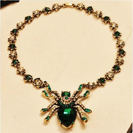 Wholesale- Comiya 15 big Fashion big Spider blue green crystal pendant necklace for women accessories shourouk vintage jewelry sherlock cc