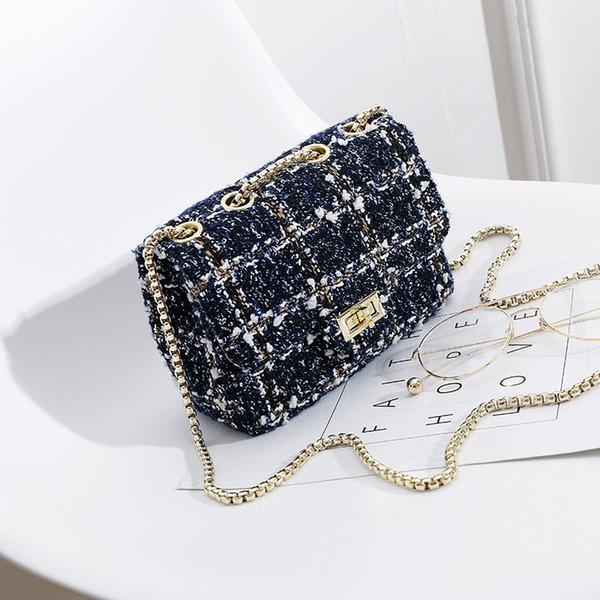 Luxury Handbags Women Bags Fashion Design 2018 Women Crossbody Shoulder Messenger Bags woolen cloth plaid Lady Mini Bag