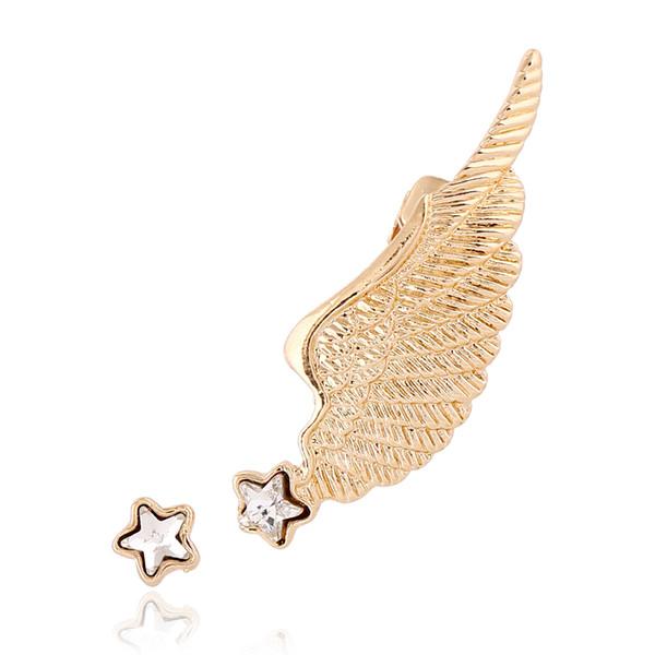 2pcs/lot Crystal Five-pointed Star Studs Angel Wings Clip Earrings Left Right Ear cilp Gold Silver Ear Cuff Earring Jewelry FY95