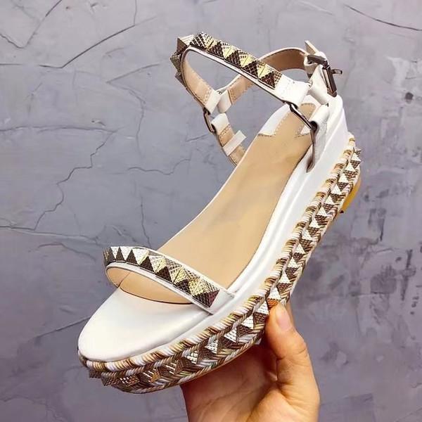 Acheter 35 Chaussures Compensées Cloutés Été Rivets Sandales Luxe 2018 Plate Pour Taille Pointu Femmes Dames 41 Forme TlF1cuKJ53