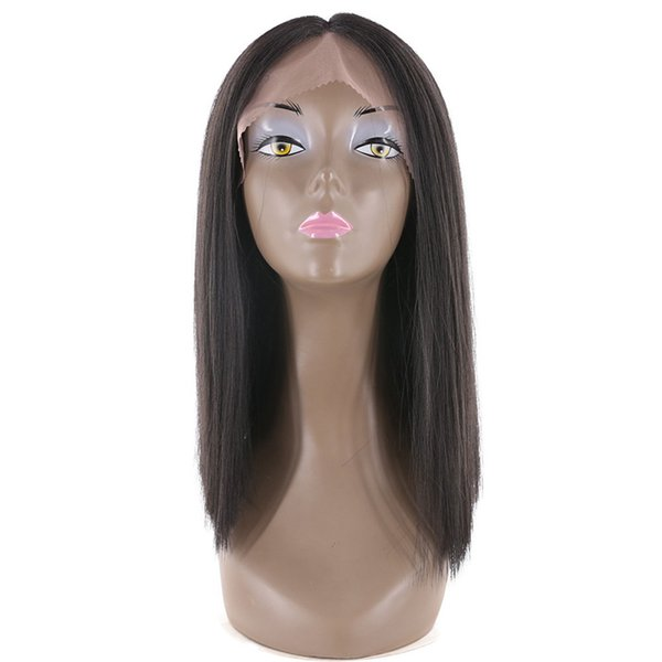 Short Bob Wigs Yaki Straight Middle Part Natural Black Color Synthetic Hair Short Bob Lace Front Wig For Black Women