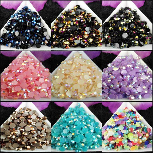 top popular 2500pcs bag SS20 5mm 9Color Jelly AB Resin Crystal Rhinestones FlatBack Super Glitter Nail Art Strass Wedding Decoration Beads Non HotFix 03 2021
