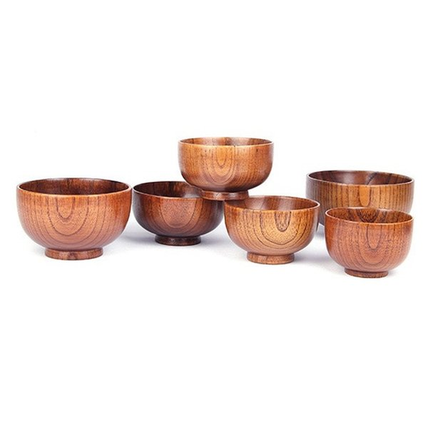 Healthy Kids Natural Wood Round Salad Bowl Kitchen Handmade Children Fruit Rice Bowl Jujube Wooden Bowl W8280 Rustic Soup Bowls Salad Bowls From