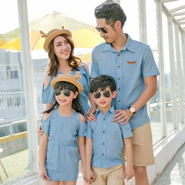 Father Son Shirt Mother Daughter Dress Summer Family Baby Girl Boy Matching Casual Short Solid Cotton Dress Outfits Clothes