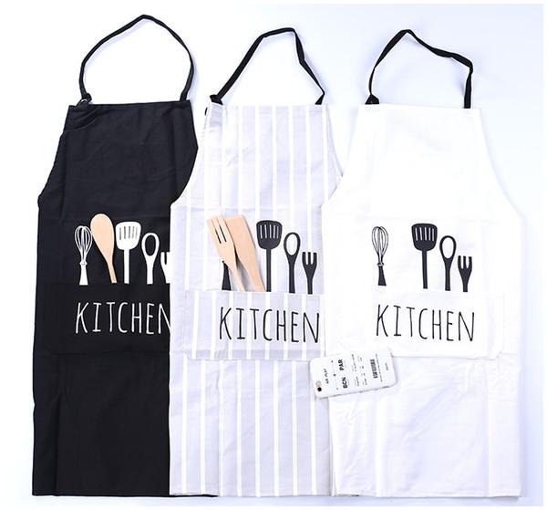 top popular 2017 New Women Men Apron Commercial Restaurant Home Bib Spun Poly Cotton Kitchen Aprons 2020