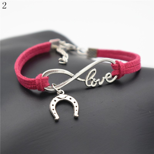 Antique Silver Alloy U shaped Horseshoe Charm Bracelets & Bangles with Braided Rose Red Leather Rope Women Men Fashion Wedding Jewelry Gifts