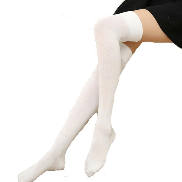 Fashion- Nice New Fashion Stockings Women Cotton Solid Over The Knee Socks Pretty Very Soft High Quality Pure Color Thigh High Sock S141