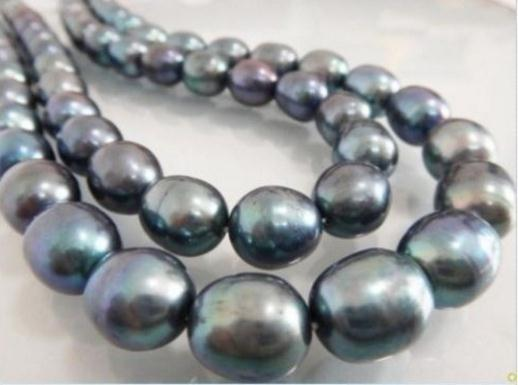 35 Inch AAA 11-13mm Natural South Sea Baroque Black Pearl Necklace 14k Gold Clasp