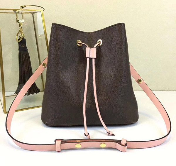 New shoulder bags with leather bucket bag women famous brands designer handbags high quality flower printing crossbody bag purse