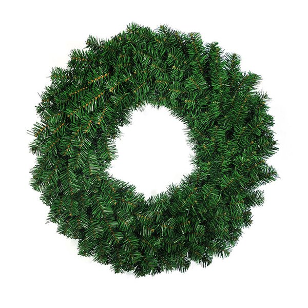 Enfeites De Natal Adornos Navidad Craft Supplies Hanging Ornaments 30cm Green PVC Ordinary Christmas Wreath Tree Decoration Flower
