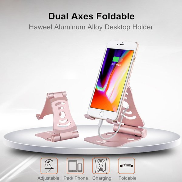 270 Degree Portable Desktop Metal Dual Foldable Anti Slip Mobile Phone Holder Tablet Stand Charging Mount for Xiaomi for iPad