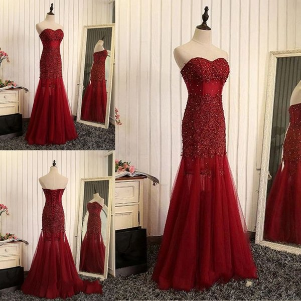 top popular Newest Sweetheart Neck Tulle Long Evening Dresses Lace up Back Appliques Beaded Long Formal Evening Gowns Prom Dresses 2019