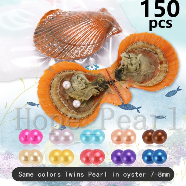 150PCS 7-8mm Mix 30 Colors Twins Pearl Same Color In Scallop Oyster Individual Vacuum Package Colorful Round Pearl Shell Fedex Free Shipping