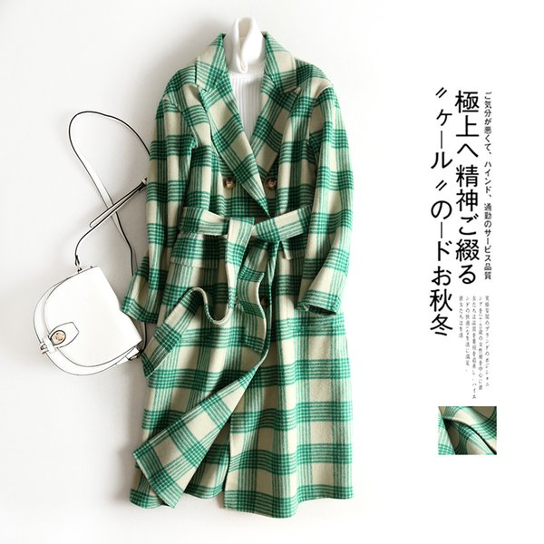 2019 Two-sided Cashmere Autumn And european fashion Winter New Check Green Long Nun Overcoat Pattern Ma'am coats for women coat warm Genuine