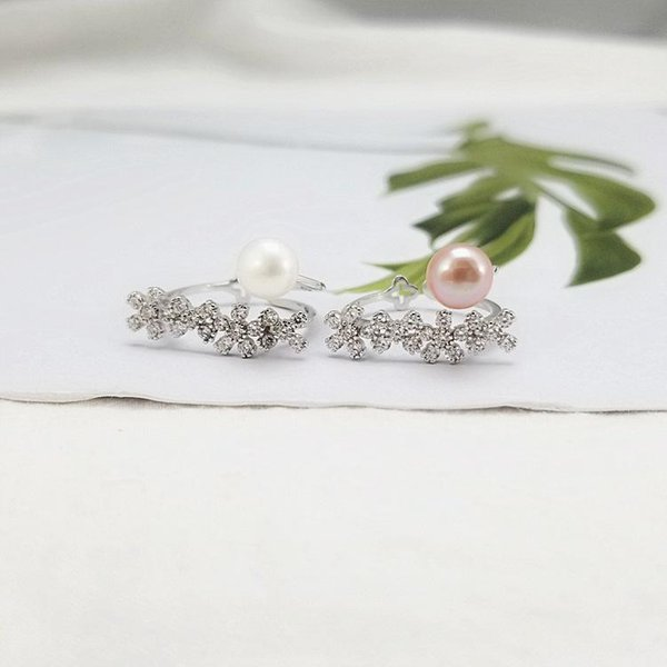 Korean Character Kreative s925 Sterling Silber Ring Temperament Zwei Farben Pearl Opening Ring