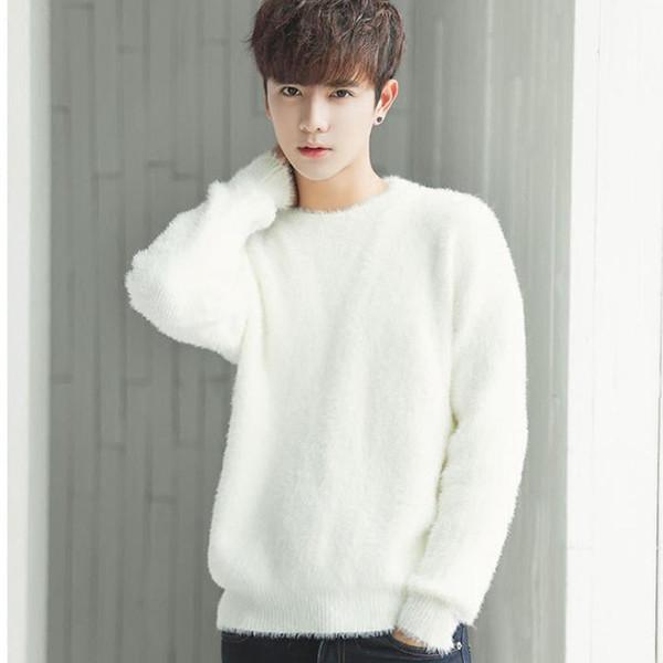 Мужчины свитер корейский стиль 2017 новая зима мужской свободные студент свитер мальчик-подросток вязаные топы пуловеры мода черный белый