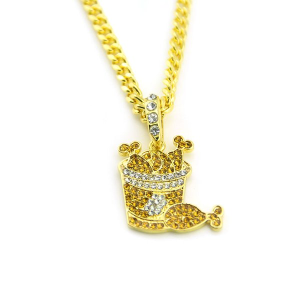 Hot sale New Hip Hop Chicken Style Pendant Necklace Chain Men Women Iced Out Crystal Jewelry