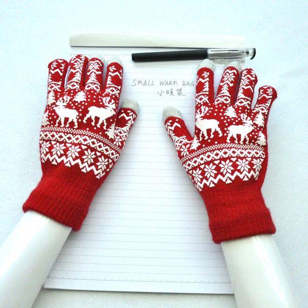 Men Women Christmas Winter Warm Knitted wapiti Pint Screen Cute Gloves 10.6