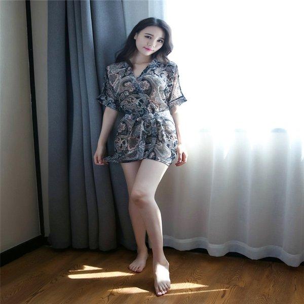 Lencería sexy lencería sexy transparente diversión seda falda larga señoras pijamas