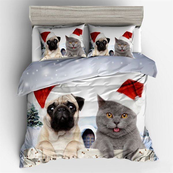 Christmas 3d bedding sets duvet cover set Pillowcase twin queen king size Bedlinen 3pcs bedclothes cartoon dog cat quilts cover
