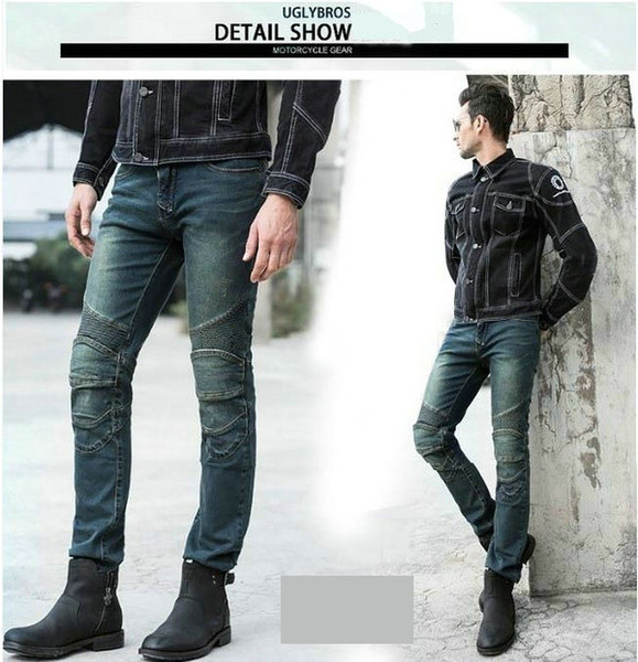 top popular Free shipping uglyBROS Featherbed dirty-blue motorcycle jeans motor ridding trousers Motorcycle protection pants motorcycle protective jeans 2019