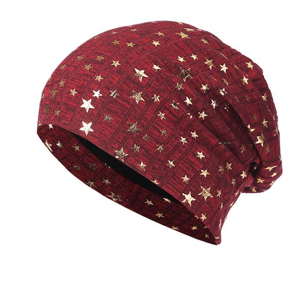 Men Women Beanie 2018 Winter Cotton Bling Star Print Hats Head Winter Cap Beanie Czapka Zimowa Bonnet Femme